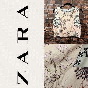 Zara Floral Peach and Glitter Crop Top